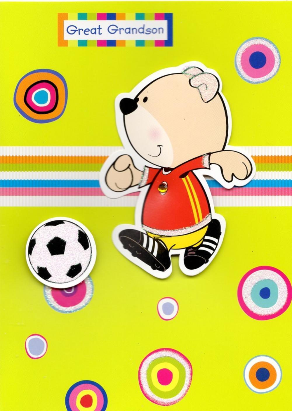 Cute Great-Grandson Football Happy Birthday Card