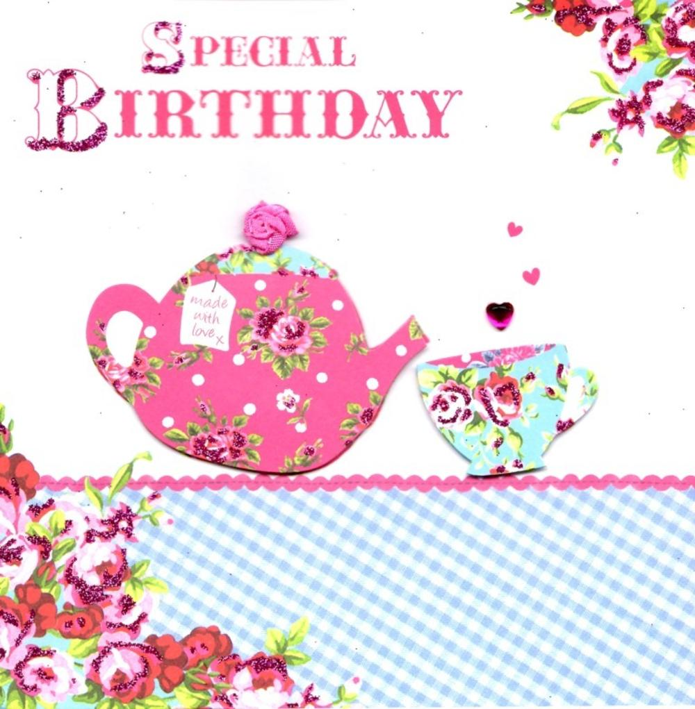 Special Birthday Tea Pretty Birthday Card