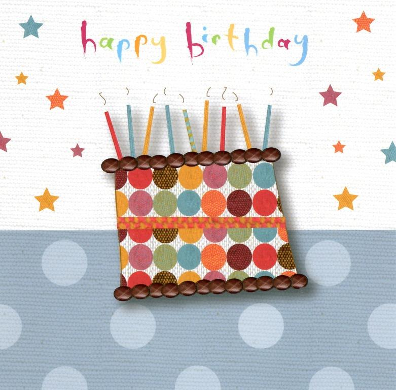 Happy Birthday Cake Candles Greeting Card