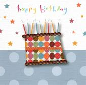 Happy Birthday Cake & Candles Greeting Card