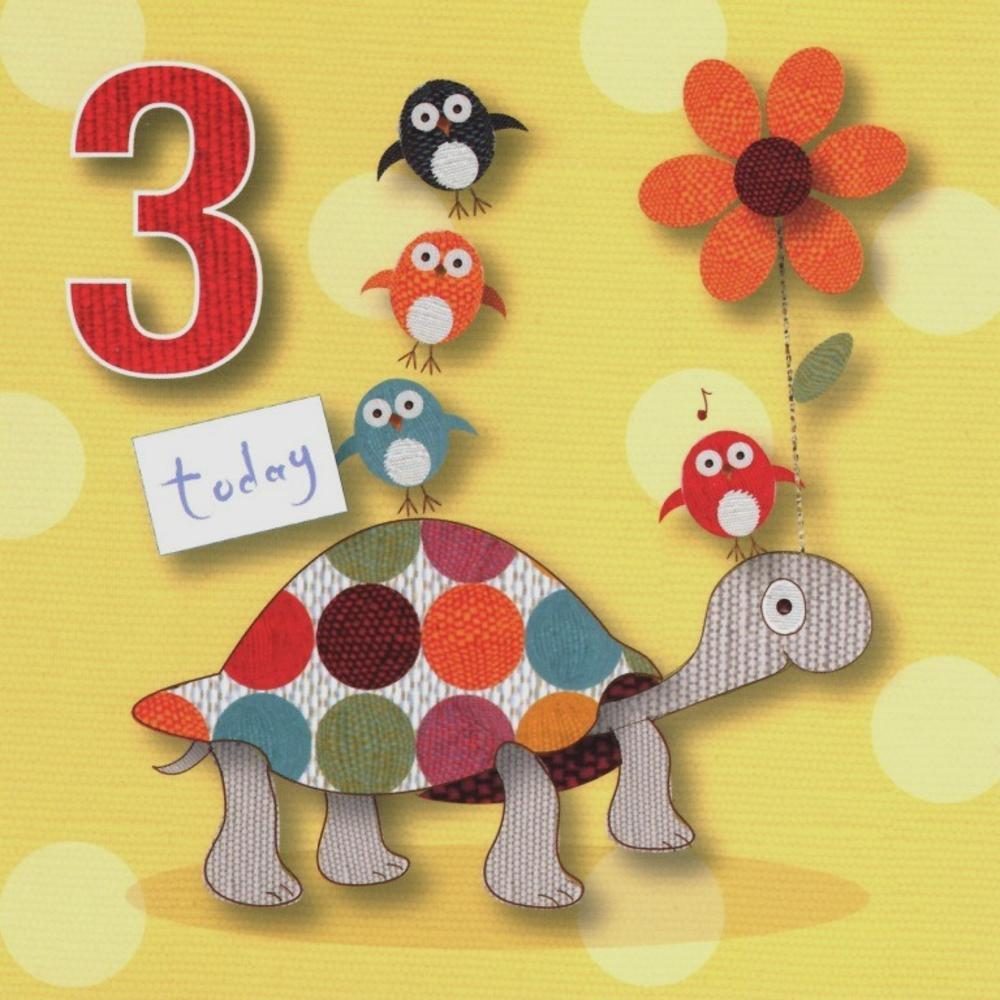 3 Today Childs 3rd Birthday Cute Greeting Card