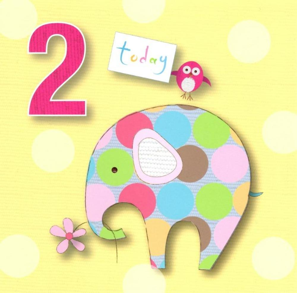 2 Today Girls 2nd Birthday Cute Greeting Card