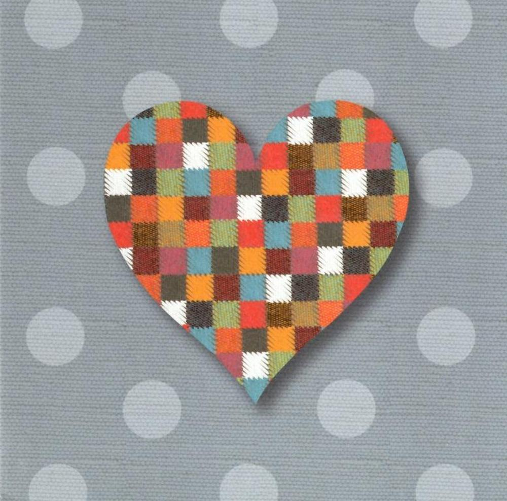 Patchwork Heart Greeting Card Blank Inside