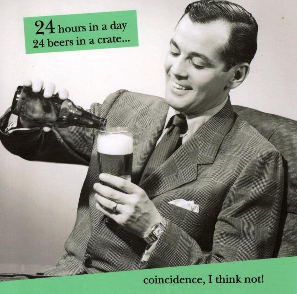 24 Hours 24 Beers Humour Birthday Card