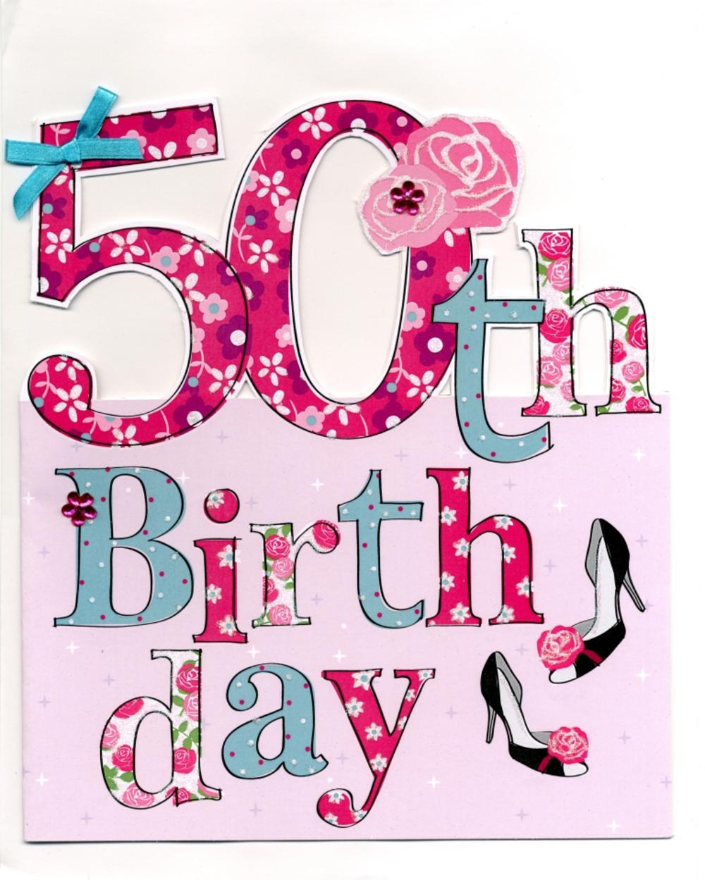Large 50th Birthday Greeting Card