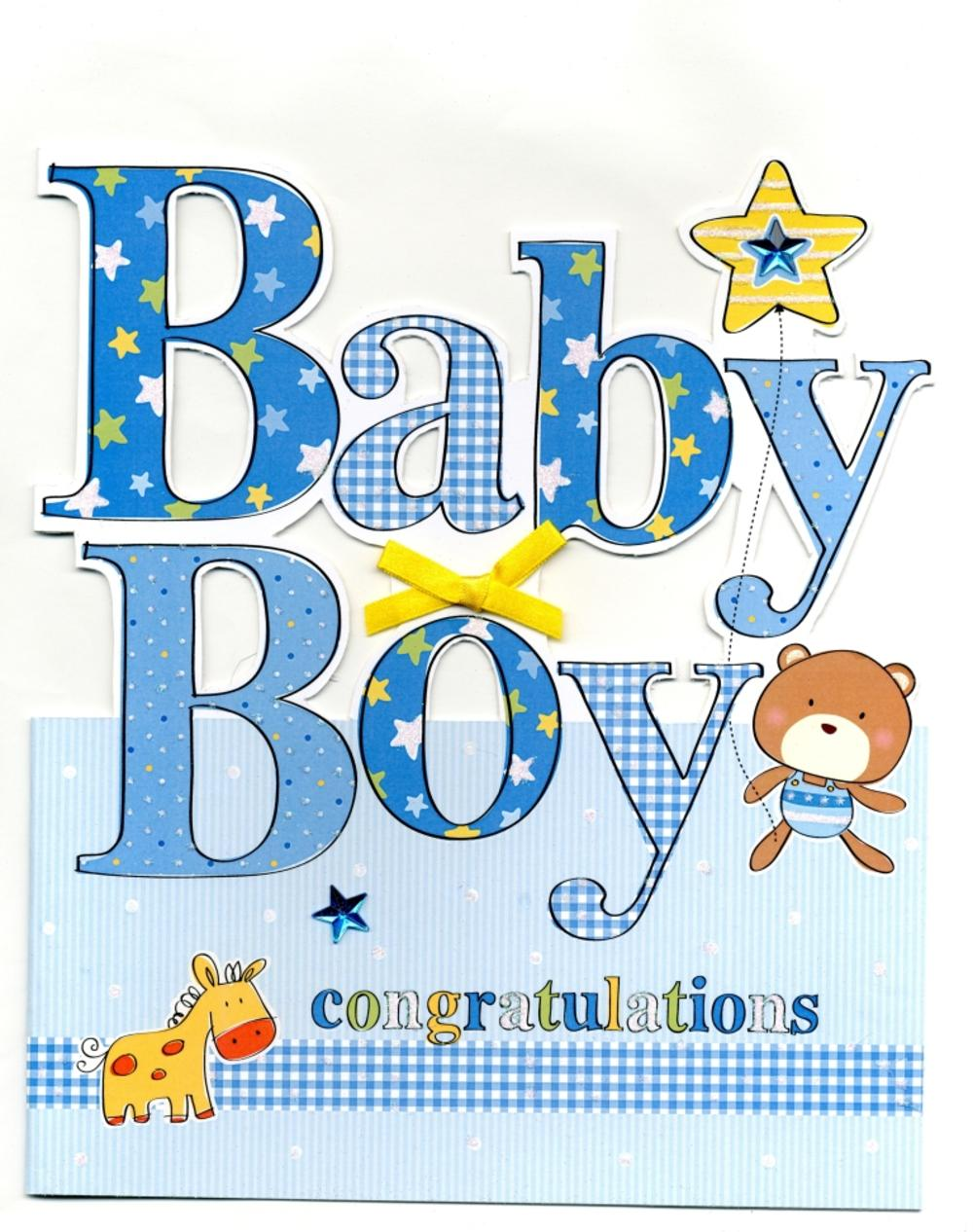 Large new baby boy congratulations greeting card cards love kates large new baby boy congratulations greeting card kristyandbryce Images