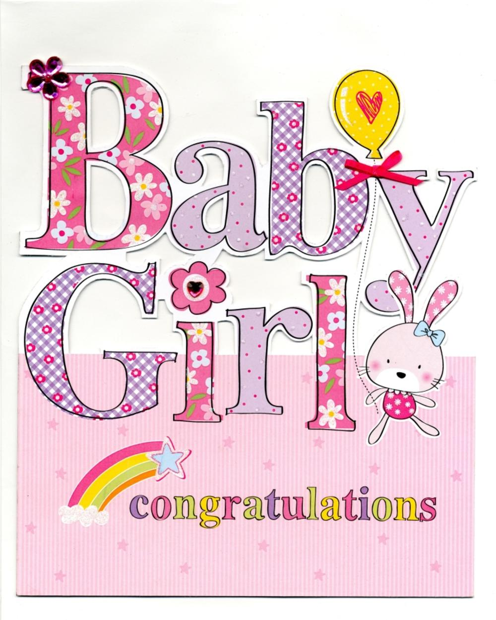 Large new baby girl congratulations greeting card cards love kates large new baby girl congratulations greeting card kristyandbryce Images