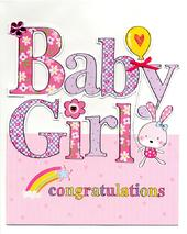 Large New Baby Girl Congratulations Greeting Card