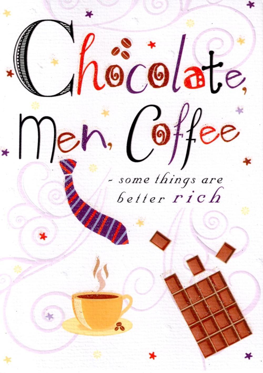 Chocolate Men Coffee Birthday Card
