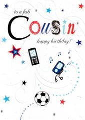 Fab Cousin Happy Birthday Card