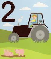 2 Today Happy 2nd Birthday Tractor Greeting Card