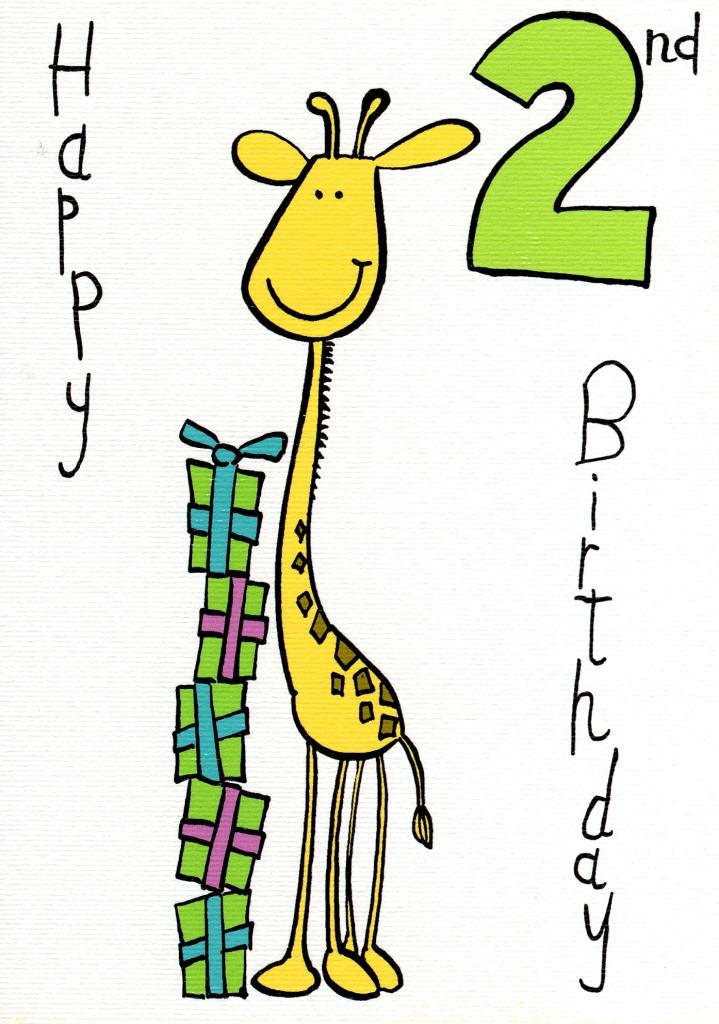 Happy 2nd Birthday Cute Giraffe Card Boy Age 2 Birthday Greetings