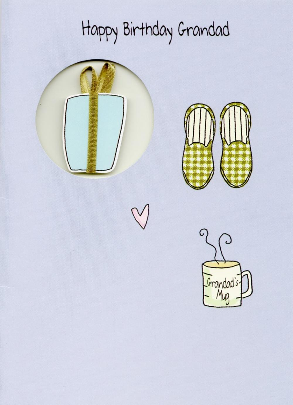 Happy Birthday Grandad Slippers Greeting Card