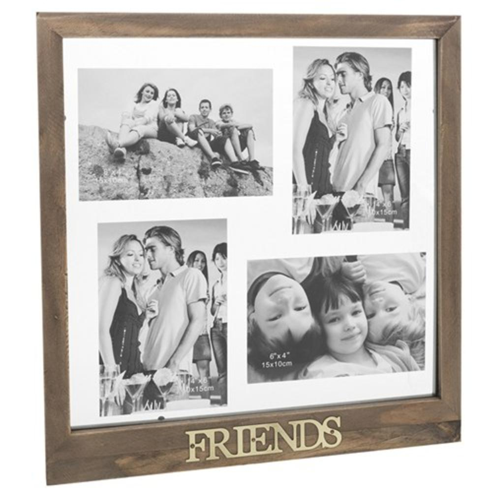 friends rustic wooden floating collage photo frame