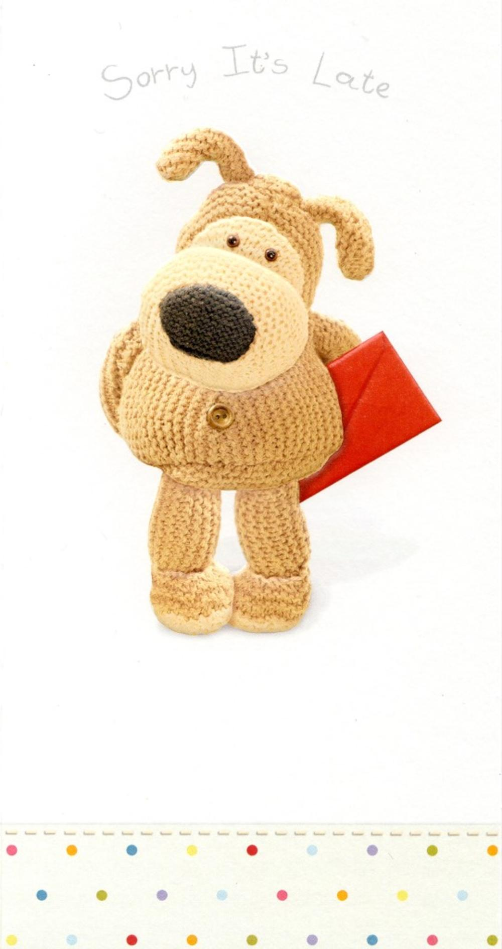 Boofle Sorry It's Late Belated Birthday Greeting Card