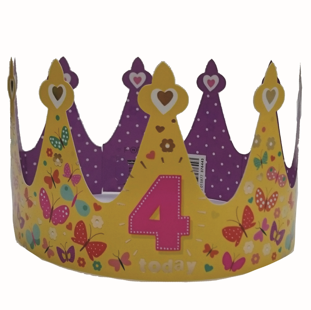 4 Today Happy 4th Birthday Crown Greeting Card