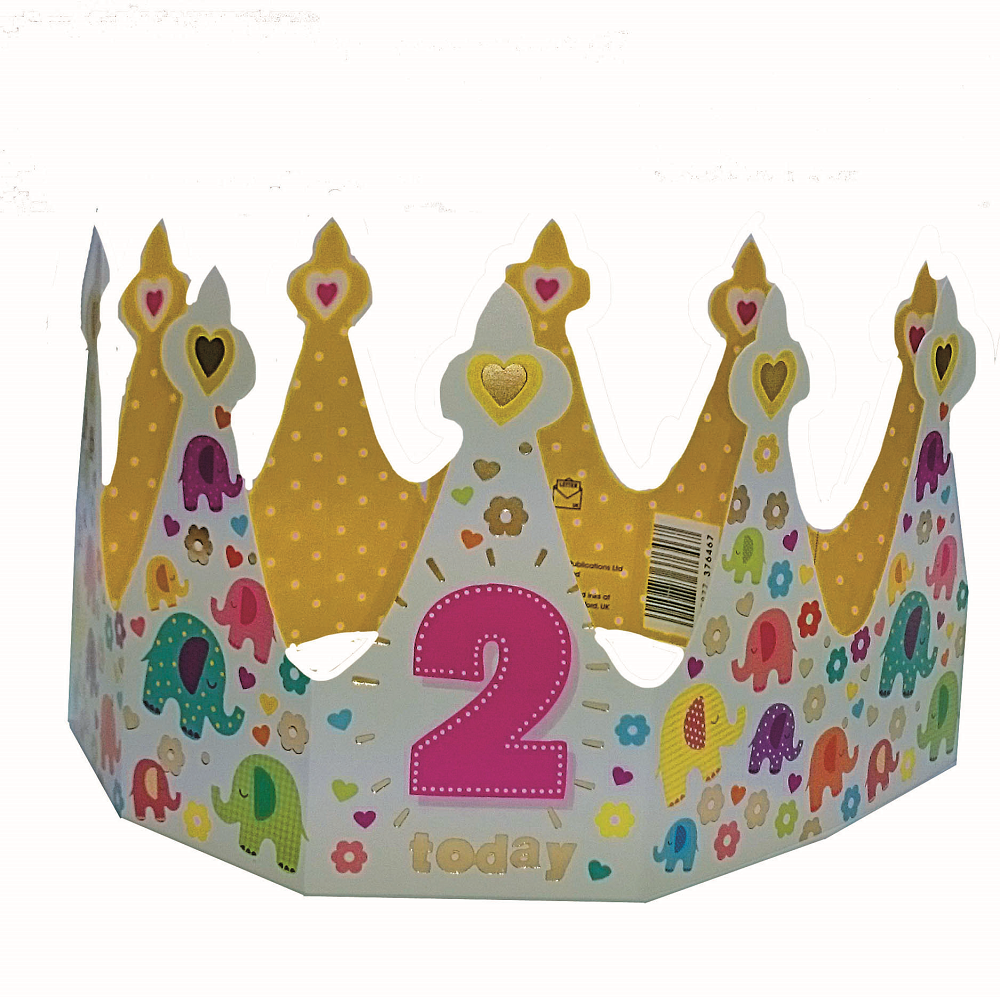2 Today Happy 2nd Birthday Crown Greeting Card