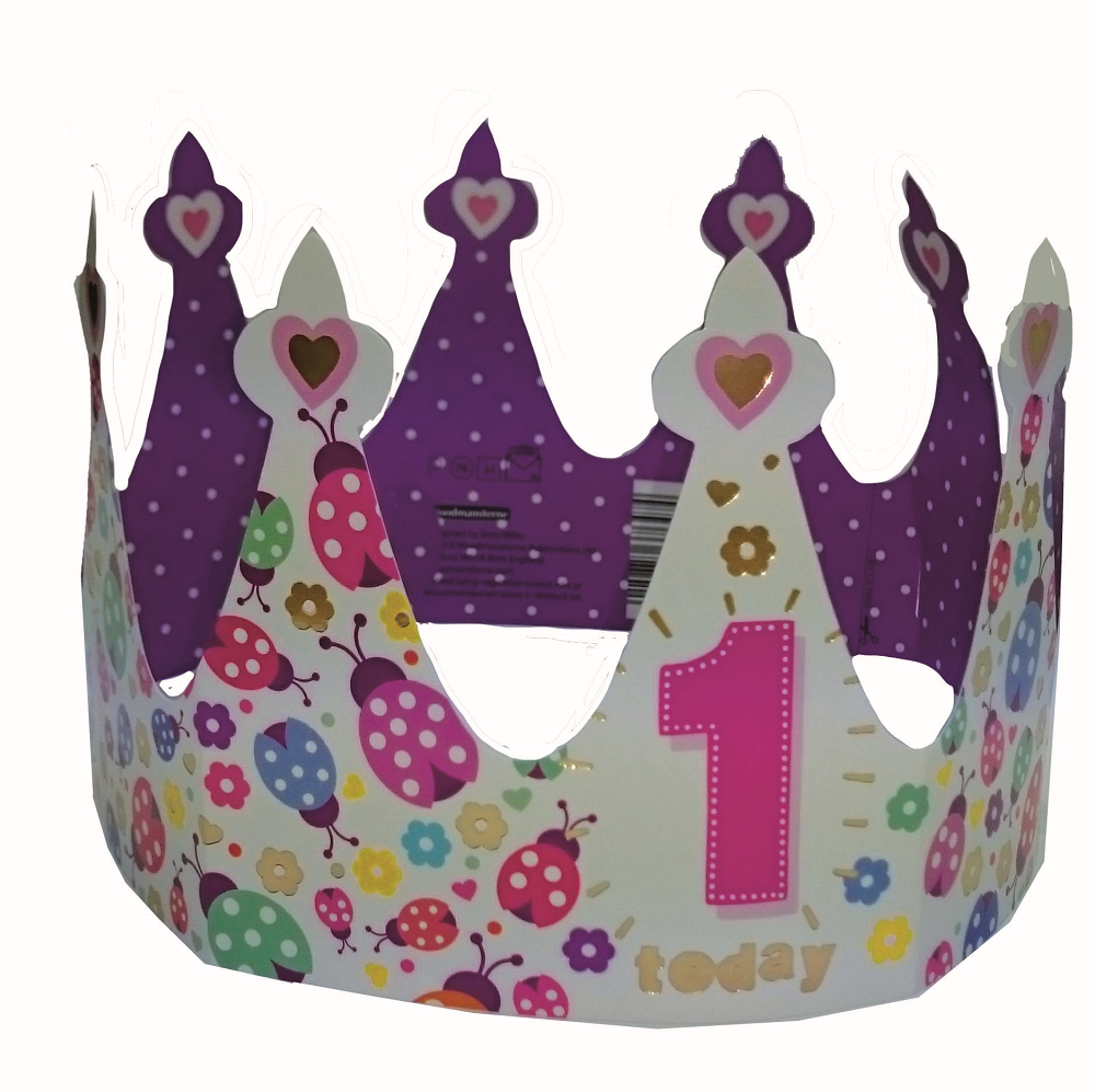 1 Today Happy 1st Birthday Crown Greeting Card
