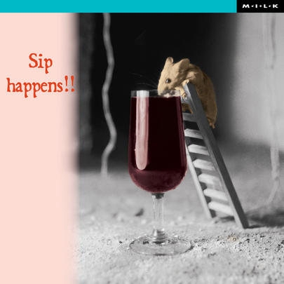 Sip Happens Funny Hamster Birthday Greeting Card