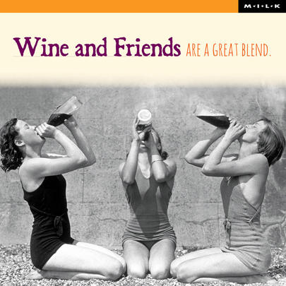 Wine & Friends A Great Blend Birthday Greeting Card