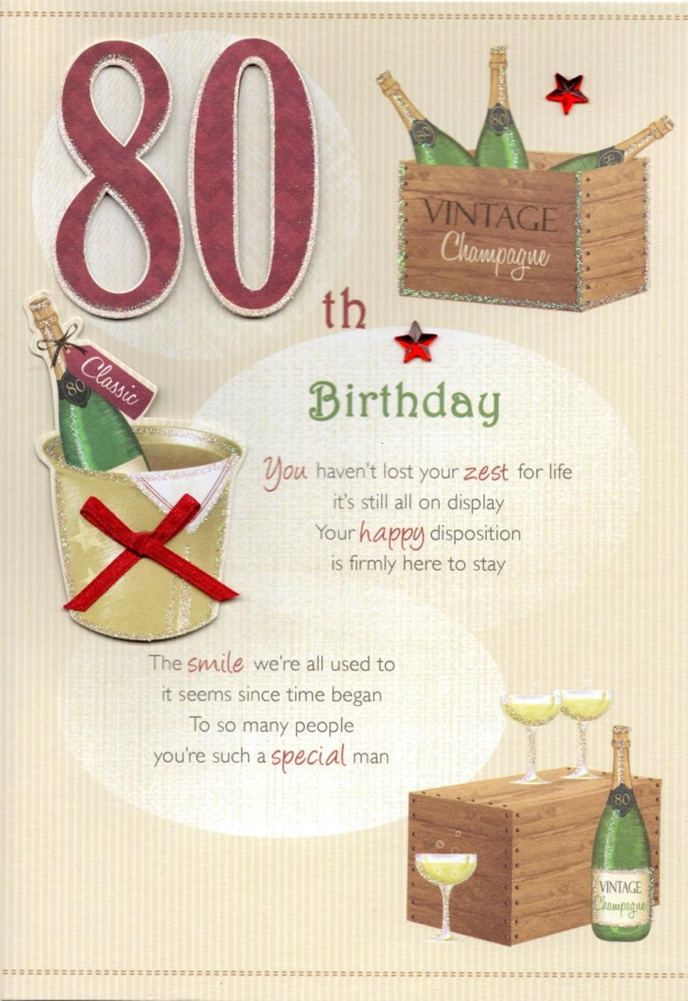 80th Happy Birthday Greeting Card