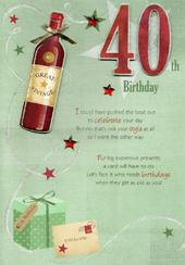 40th Happy Birthday Greeting Card