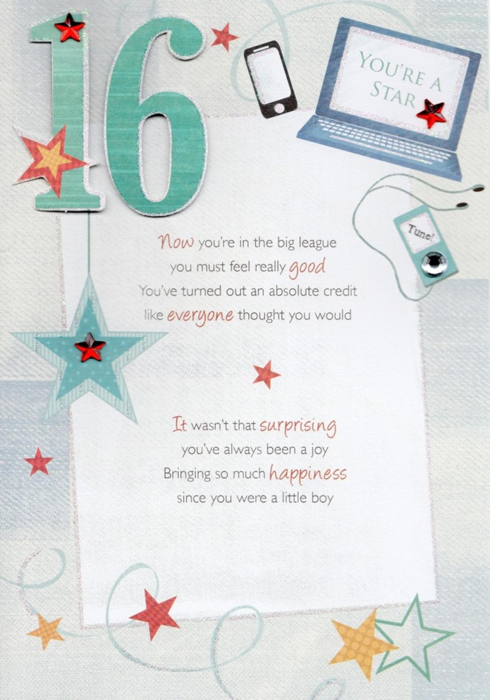 16th Happy Birthday Greeting Card