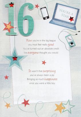 16th Happy Birthday Greeting Card