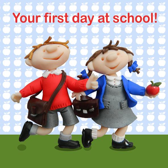 first daytime inside school cue card