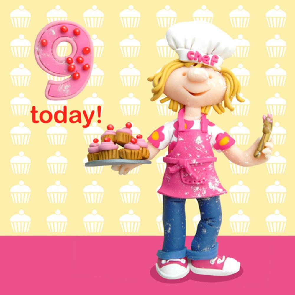 9 Today Girls 9th Birthday Card