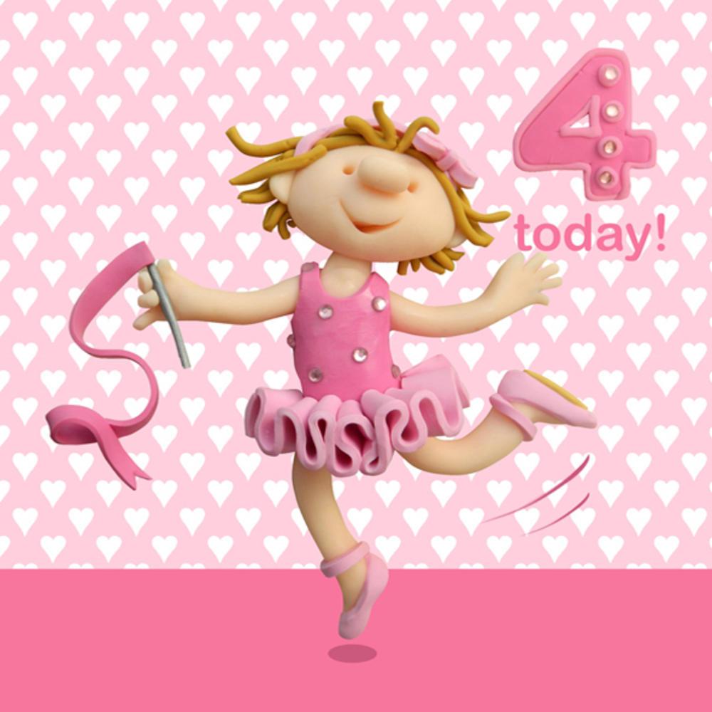 4 Today Girls 4th Birthday Card