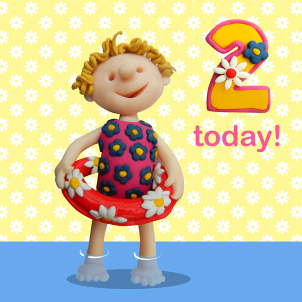 2 Today Girls 2nd Birthday Card