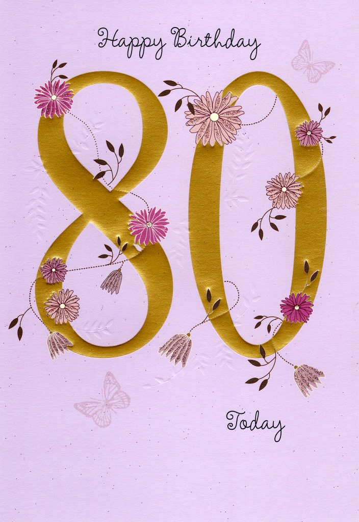 Happy 80th Birthday Greeting Card Cards – 80th Birthday Cards