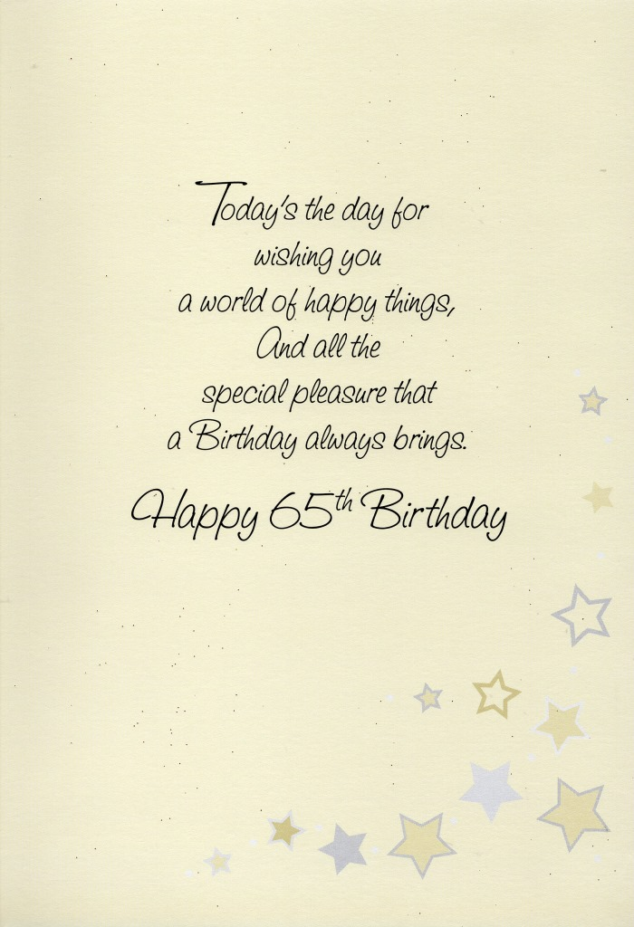 Sentinel Happy 65th Birthday Greeting Card Lovely Greetings Cards Nice Verse