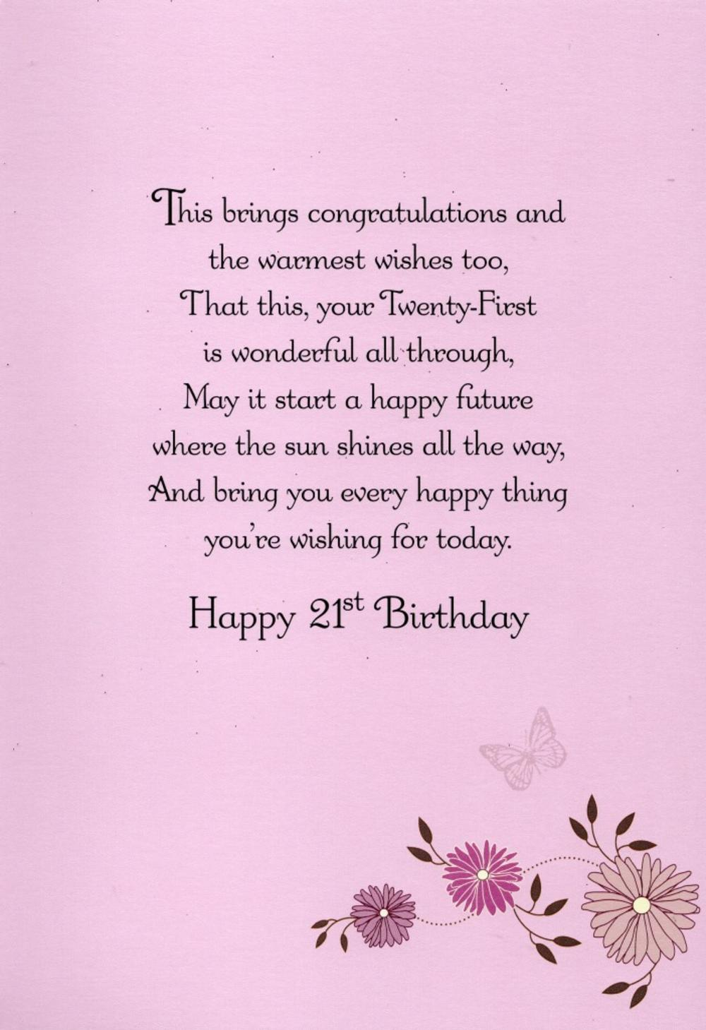 Happy 21st Birthday Greeting Card Cards – Niece 21st Birthday Cards