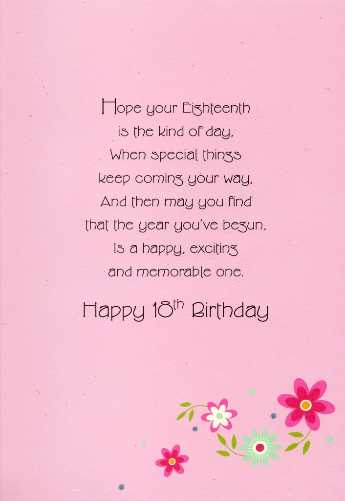 Happy 18th Birthday Greeting Card Lovely Greetings Cards Nice Verse