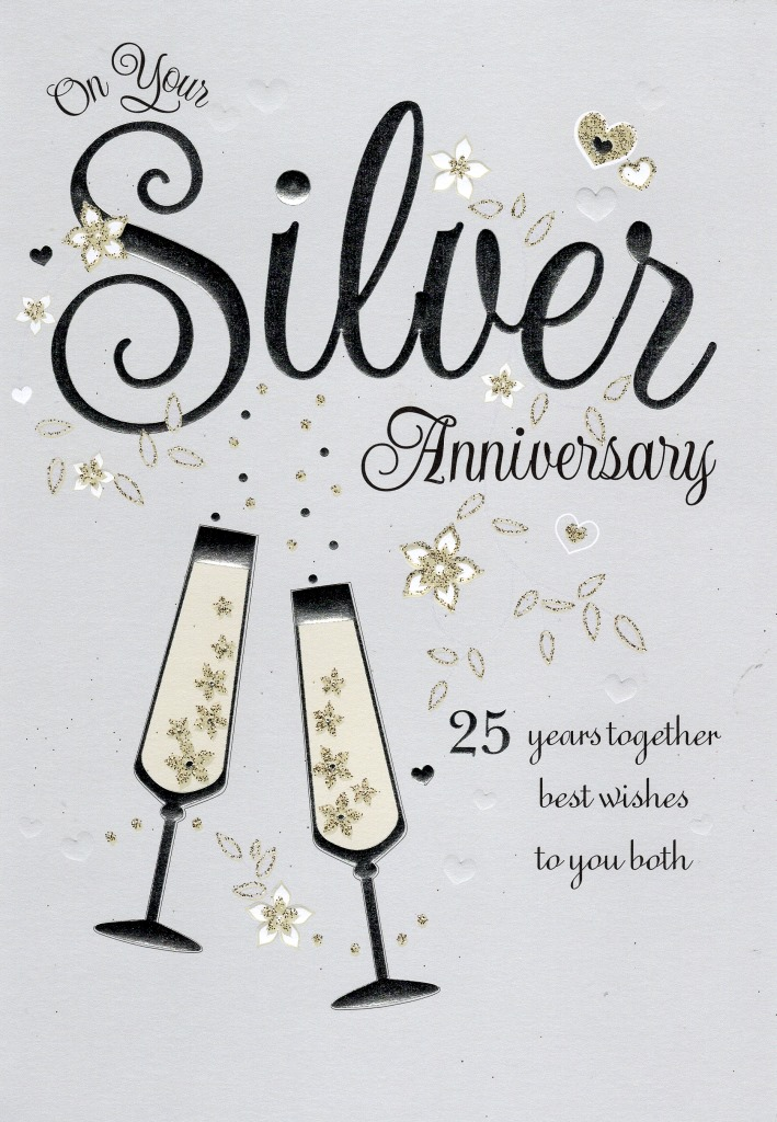 on your silver 25th anniversary greeting card cards