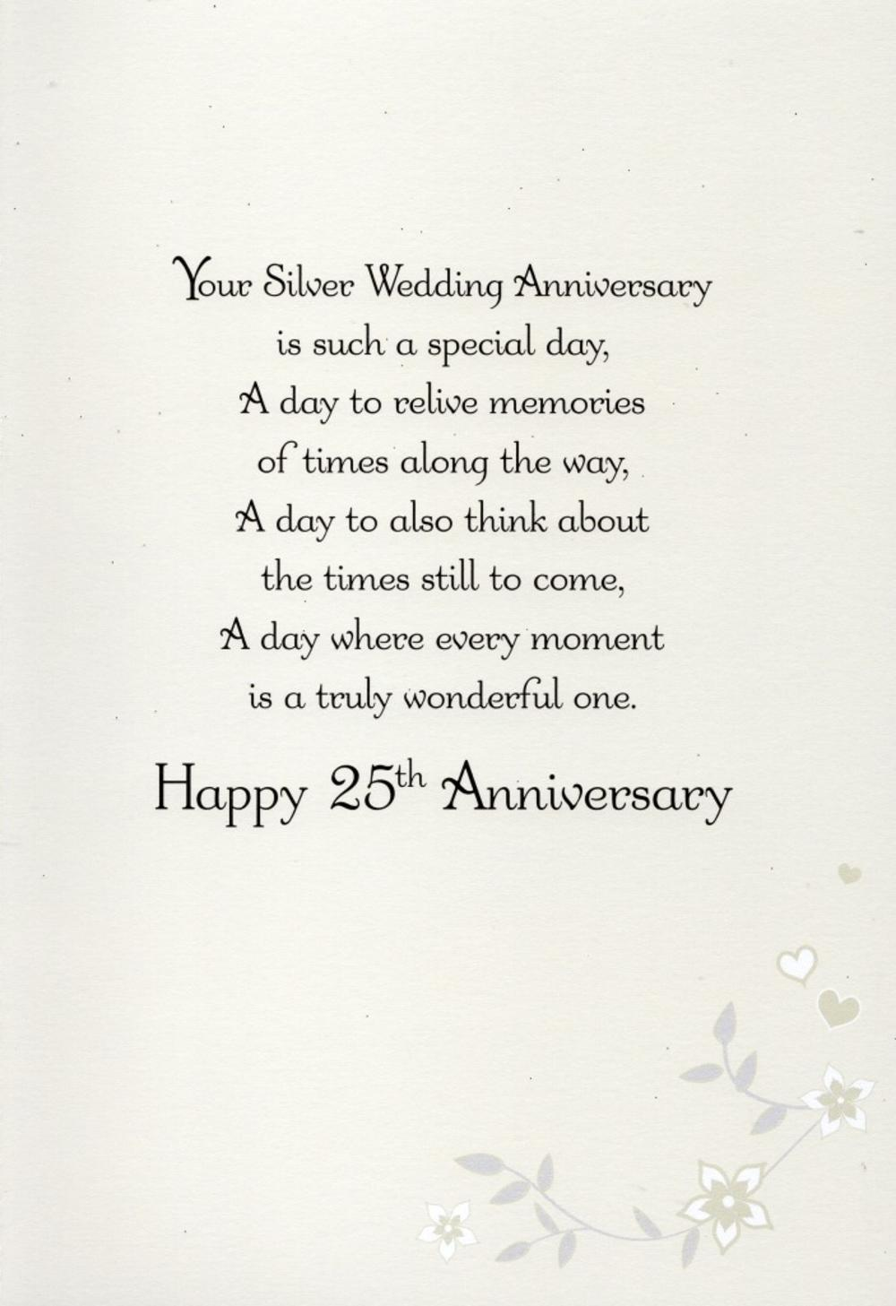 On your silver 25th anniversary greeting card cards love kates thumbnail 2 bookmarktalkfo Gallery