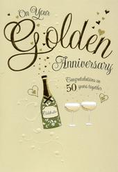 On Your Golden 50th Anniversary Greeting Card