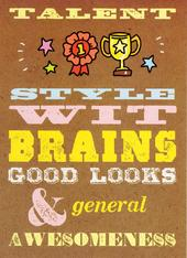 Talent Style Wit Brains Funny Birthday Card
