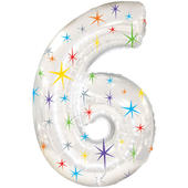 Giant Silver Number 6 Foil Birthday Balloon Helium or Air Fill