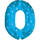 Giant Blue Number 0 Foil Birthday Balloon Helium or Air Fill