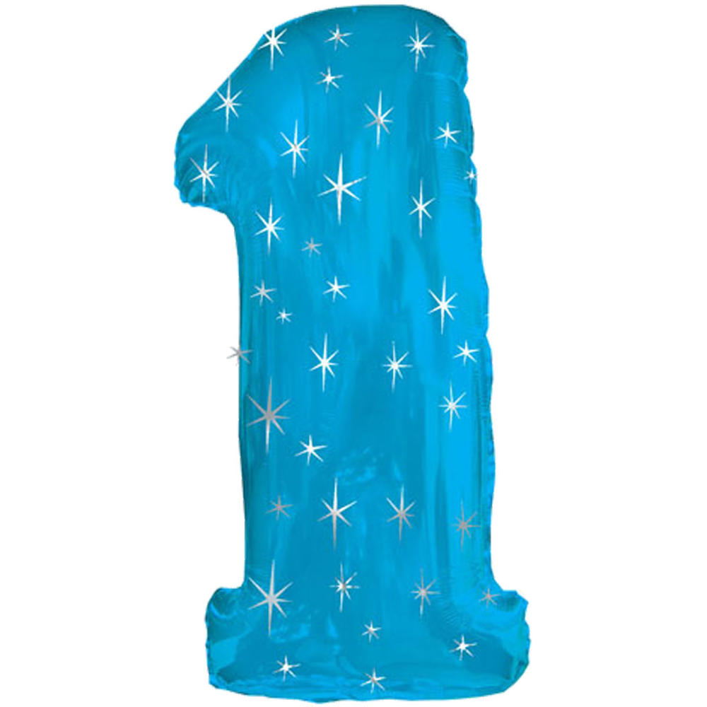 Giant Blue Number 1 Foil Birthday Balloon Helium or Air Fill