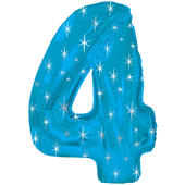 Giant Blue Number 4 Foil Birthday Balloon Helium or Air Fill