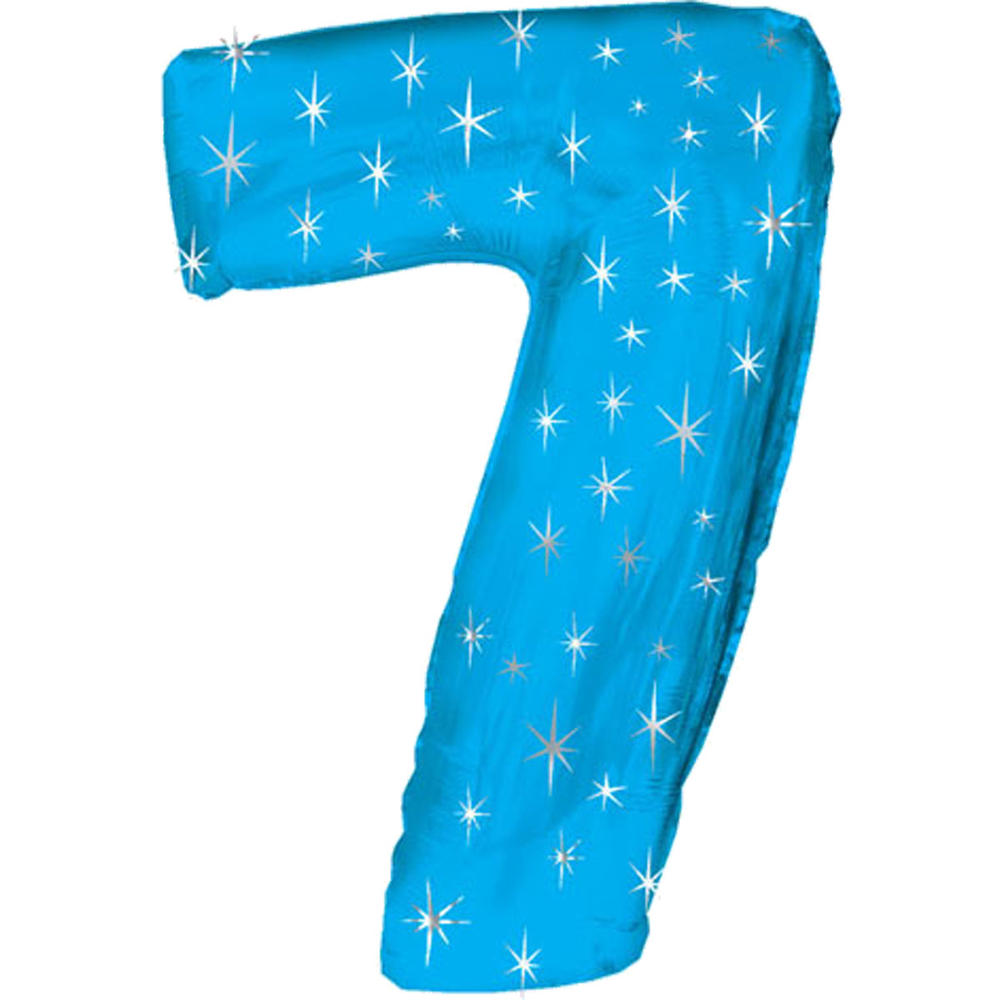 Giant Blue Number 7 Foil Birthday Balloon Helium or Air Fill