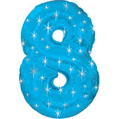 Giant Blue Number 8 Foil Birthday Balloon Helium or Air Fill
