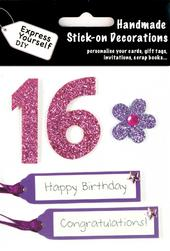 Pink 16th Birthday DIY Greeting Card Toppers