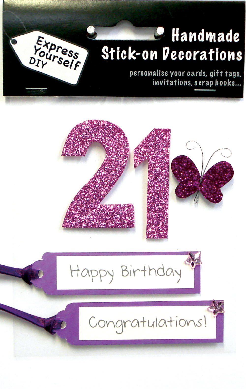 Pink 21st Birthday DIY Greeting Card Toppers