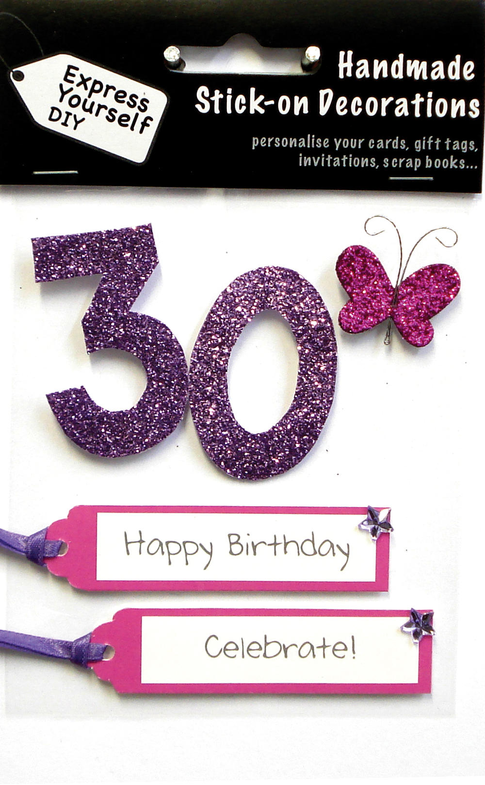 Pink 30th Birthday DIY Greeting Card Toppers