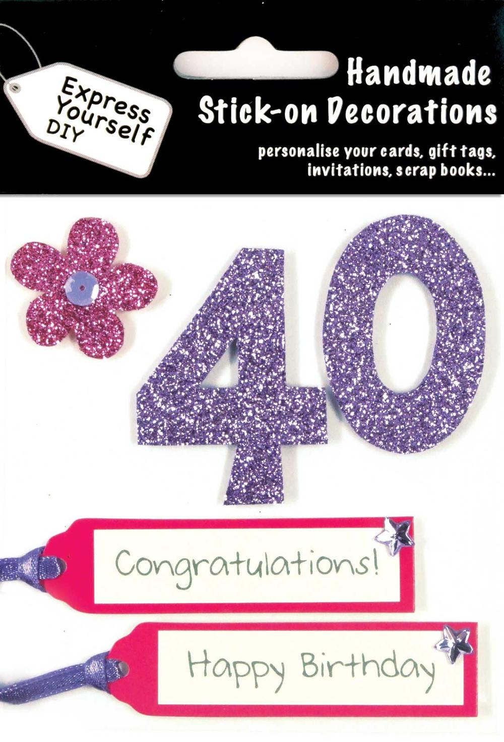 Pink 40th Birthday DIY Greeting Card Toppers